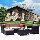 Cloud Mountain 6 PC Patio PE Rattan Wicker Furniture Set Outdoor Backyard Sectional Conversation Furniture Set Outdoor Patio Garden Sofa Set, Black Rattan with Khaki Cushions