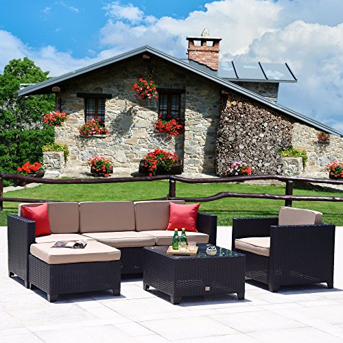 Cloud Mountain 6 PC Patio PE Rattan Wicker Furniture Set Outdoor Backyard Sectional Conversation Furniture Set Outdoor Patio Garden Sofa Set, Black Rattan with Khaki Cushions