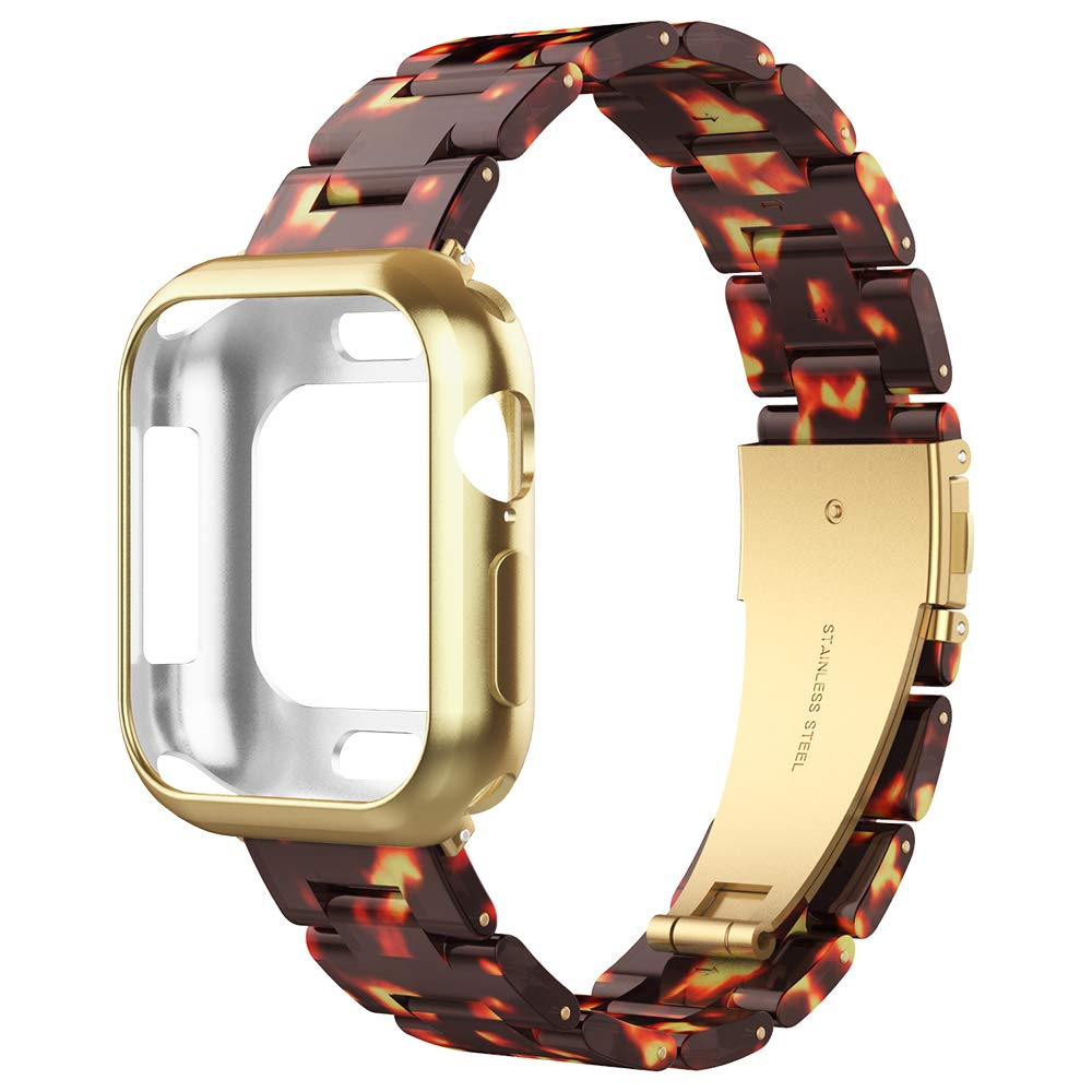 UooMoo Resin Strap with Case Compatible with Apple Watch 4 Band 44mm, Fashion Adjustable Sport Band with Stainless Steel Buckle for Smart iWatch Series 4, Tortoise-Tone/Gold by UooMoo