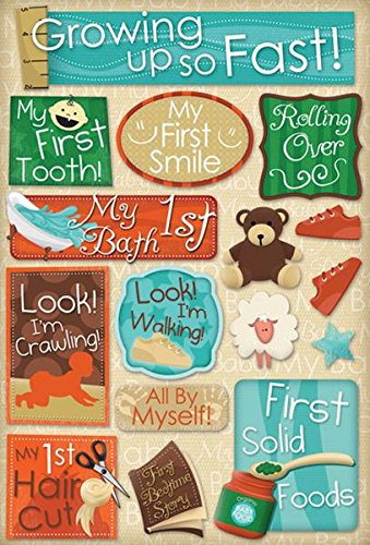KAREN FOSTER Design Acid and Lignin Free Scrapbooking Sticker Sheet, Growing Up