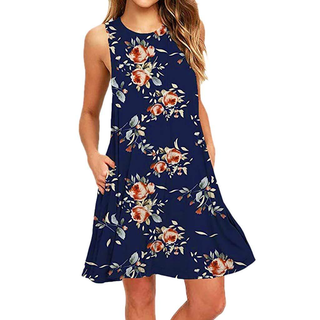 Yvelands Damen Beach Tank Kleid Sommer lässig ärmellos Bedruckt Swing Minirock Sommerkleid mit Tasche