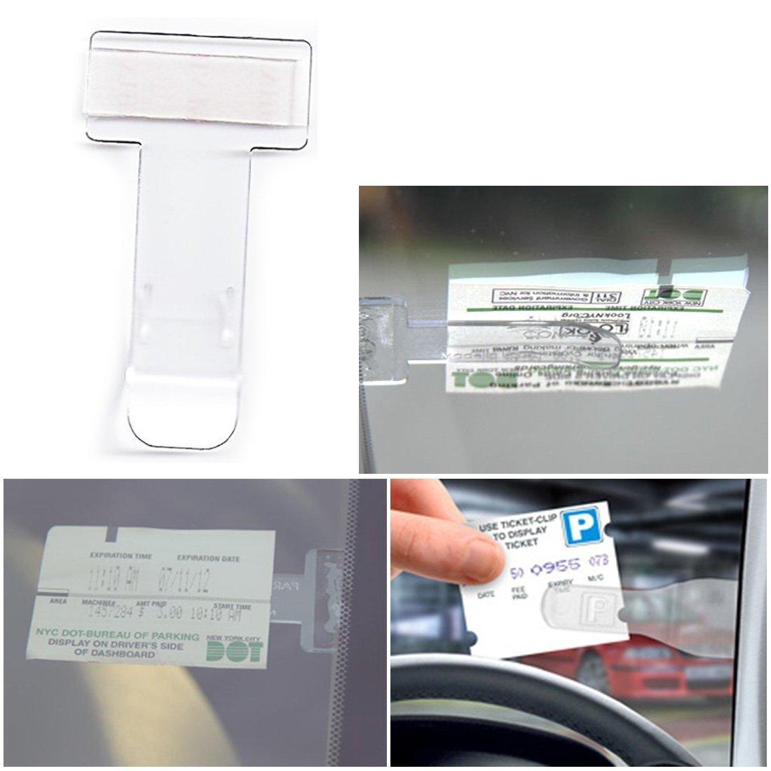 MYNC - Clear Car Vehicle Van Caravan Windscreen Window Parking Ticket Holder T-Shaped Clip On (2)