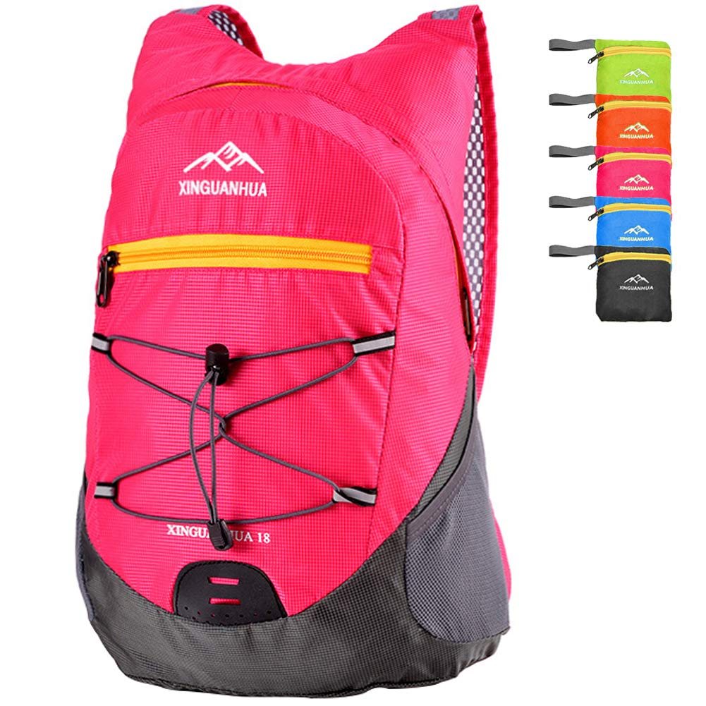 Rose Red Peicees Medium Packable Shoulder Backpack Lightweight Hiking Daypacks Casual Foldable Camping Outdoor Bag for Women and Men 20L