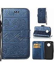 Schutzhülle Für Lenovo Moto G5 (5.0 zoll) , pinlu® Handyhülle Hohe Qualität PU Ledertasche Brieftasche Mit Stand Function Elefanten Muster Navy Dunkelblau