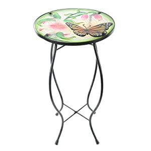 CEDAR HOME Side Table Outdoor Garden Patio Metal Accent Desk with Round Hand Painted Glass, Pink