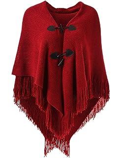 58d0ea3c73c3 Ferand - Magnifique Cape Poncho Ouvert pour Femme, avec Boutons en Corne  Élégant, Encolure