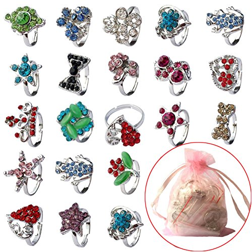 [ Fly-love® 20pcs Kids Crystal Silver Plated Children Girls Rings Adjustable Jewelry] (Kids Fly Costumes)