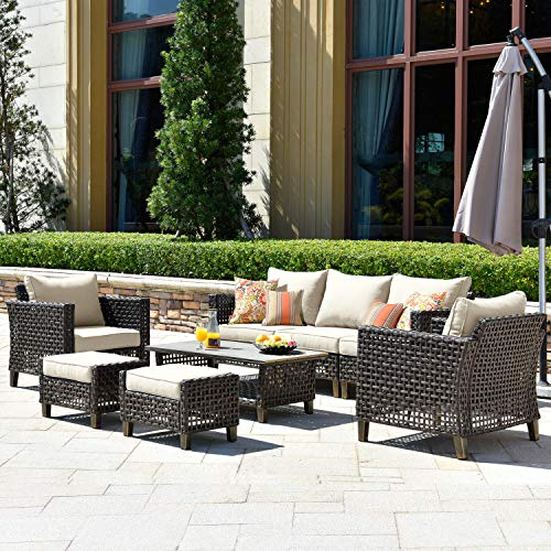 ovios Patio furnitue, Outdoor Furniture Sets,Morden Wicker Patio Furniture sectional with Table and Waterproof Covers,Backyard,Pool,Aluminum,Brown,Beige (8 Piece, Brown Wicker+Beige Cushion)