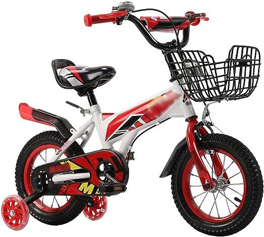 Bicicleta para Niños,Absorción De Impactos Pie Cruiser Bike,Adecuado para Niños Y Niñas 2-7 Años Bicicleta Infantil con Asiento Ajustable Rojo D 12inch: Amazon.es: Jardín