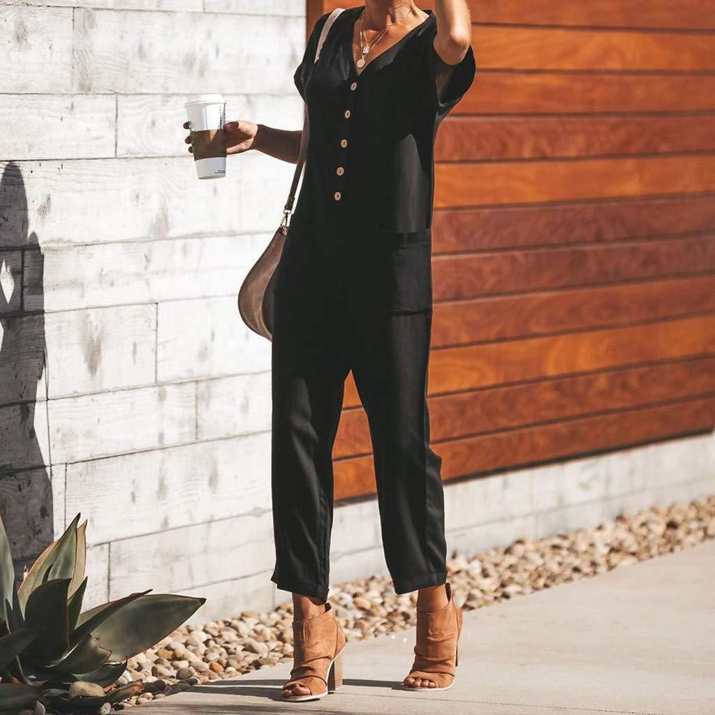 Women V Neck Button Short Sleeve High Waist Jumpsuits with Long Wide Leg Pants Pockets