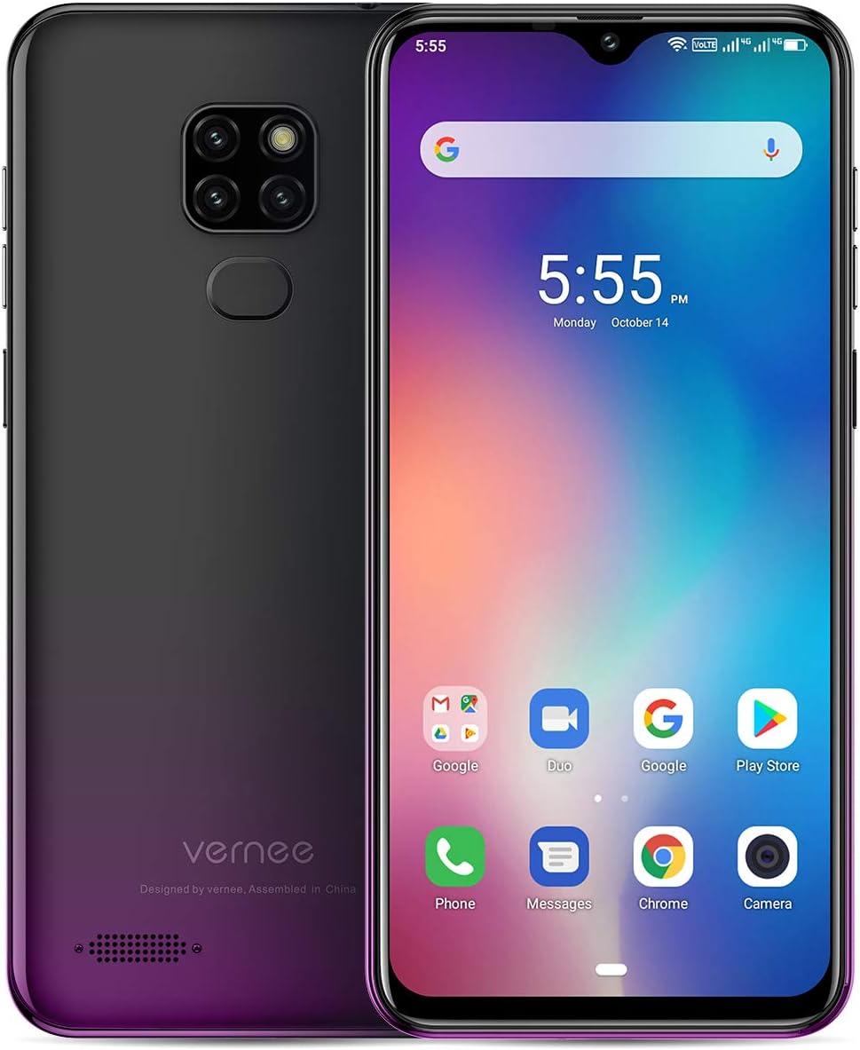 Vernee M7 (2019) Teléfono Móvil Libre Dual SIM 4GB RAM 64GB ROM Triple Cámara Trasera 13MP Frontal 8MP 6.1 Pulgadas 3 Ranura Tarjeta 3500mAh Carga Rápida 5V/2A Face ID Huella Smartphone 4G - Negro