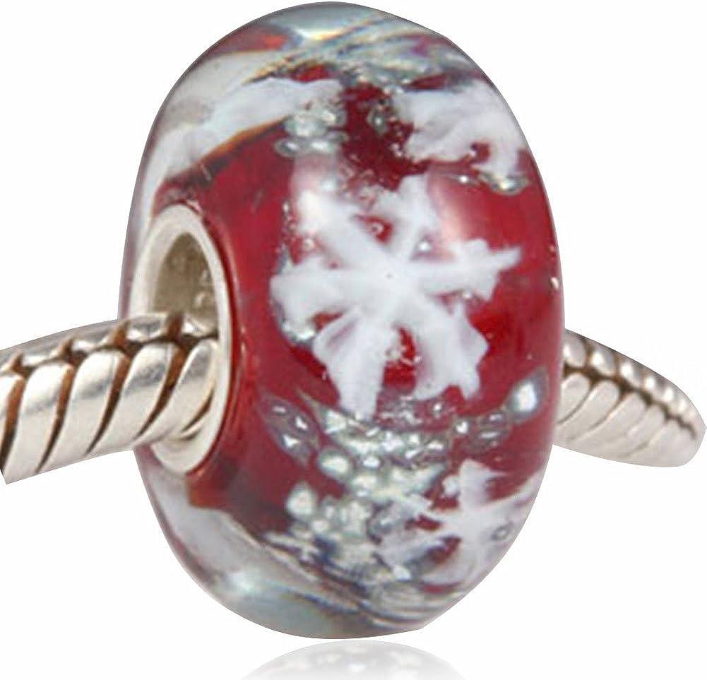 Sandcastle Jewellery Breloque en verre de Murano et argent sterling 925 avec flocon de neige pour bracelets europ/éens