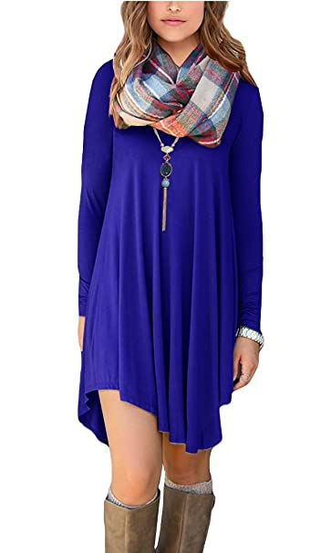 POSESHE Women's Long Sleeve Casual Loose T-Shirt Dress (XS, Royal Blue)