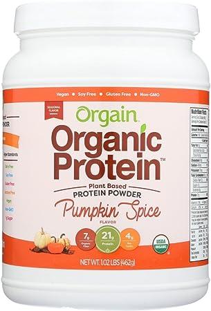 Orgain - Proteína orgánica basada en plantas de proteína en polvo de calabaza Spice - 1.02libras.