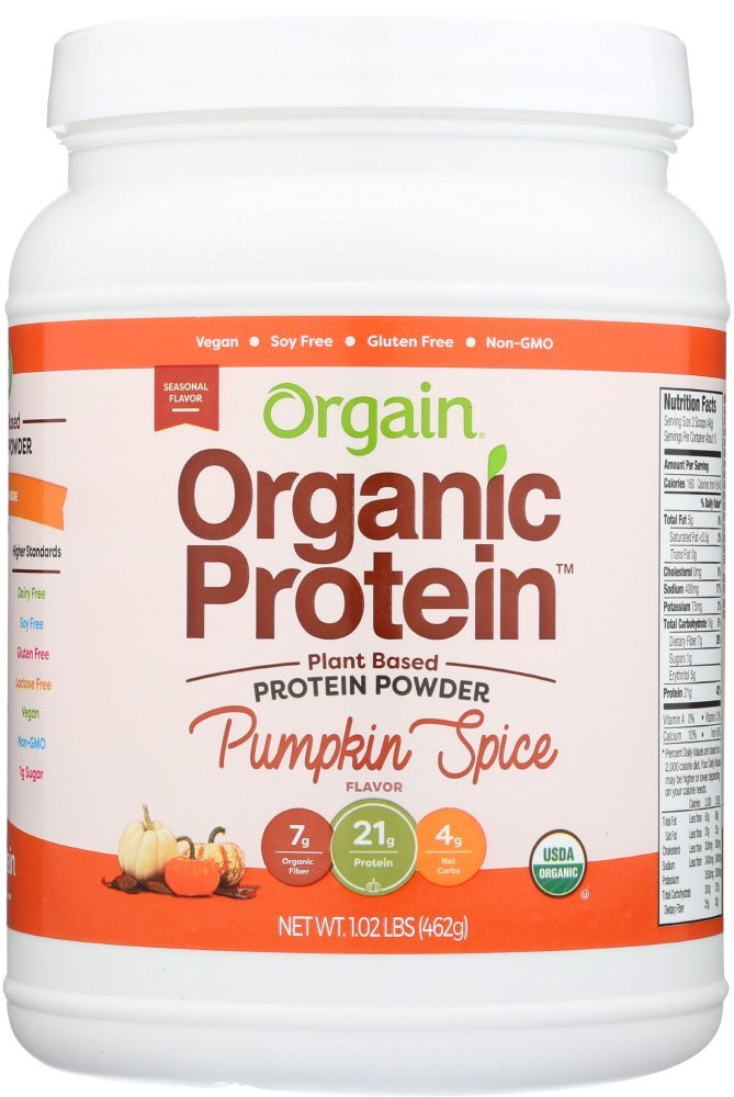 Orgain Organic Plant Based Protein Powder, Pumpkin Spice, Vegan, Gluten Free, Non-GMO, 1.02 Pound, 1 Count, Packaging May Vary
