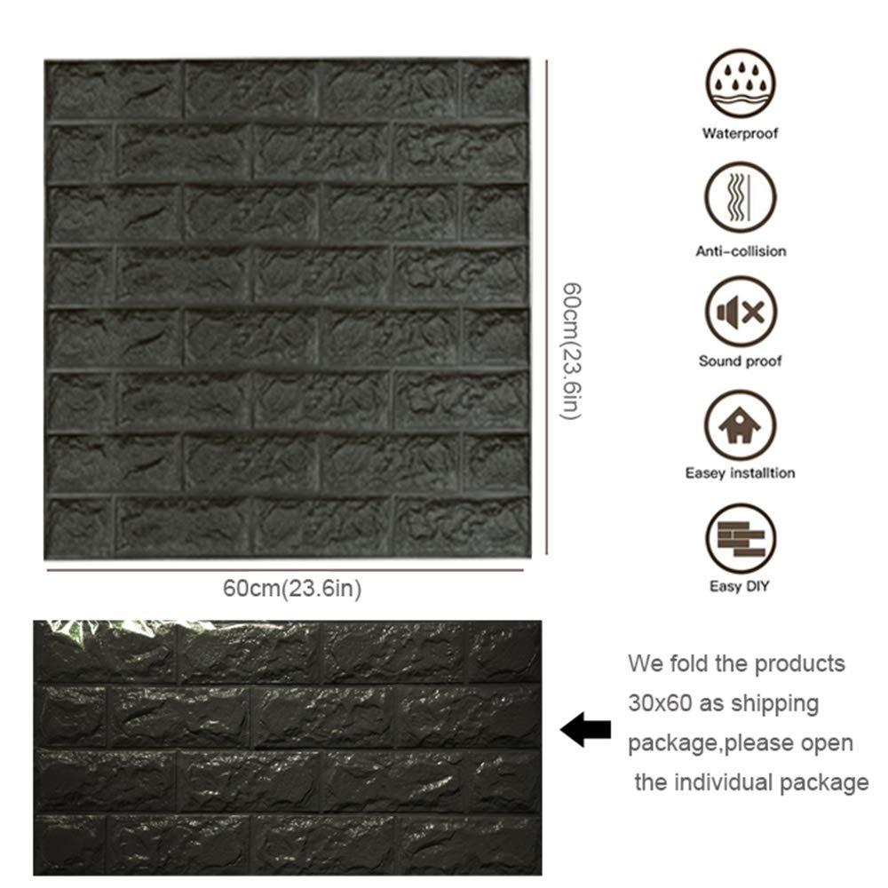 5 pi/èces Brique Gris papier peint 3d brique,autocollant de mur de mousse de PE amovible et de b/âton de PE pour le bureau /à la maison de salon 19.35 sq ft