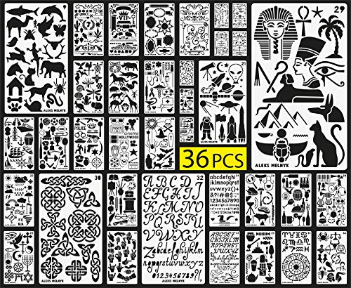 Aleks Melnyk Plastic Stencils/36 PCS Planner Set for Journal/Supplies/Diary/Notebook/Scrapbook DIY Drawing/Template Journal Stencils 4x7 inch