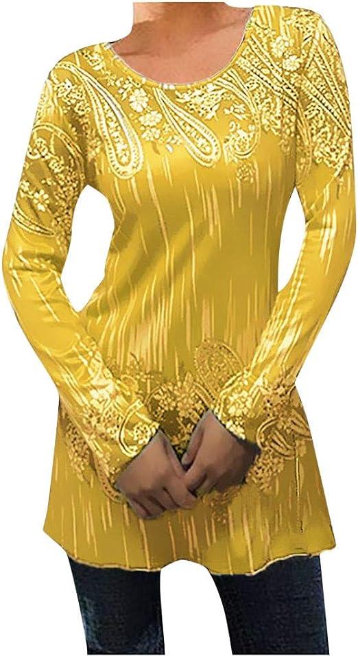 Camiseta Bohemia Mujer Tunica Elegante Camisa de Manga Larga de Cuello Redondo de Talla Grande Blusa de Flores de Boho Oversize: Amazon.es: Ropa y accesorios
