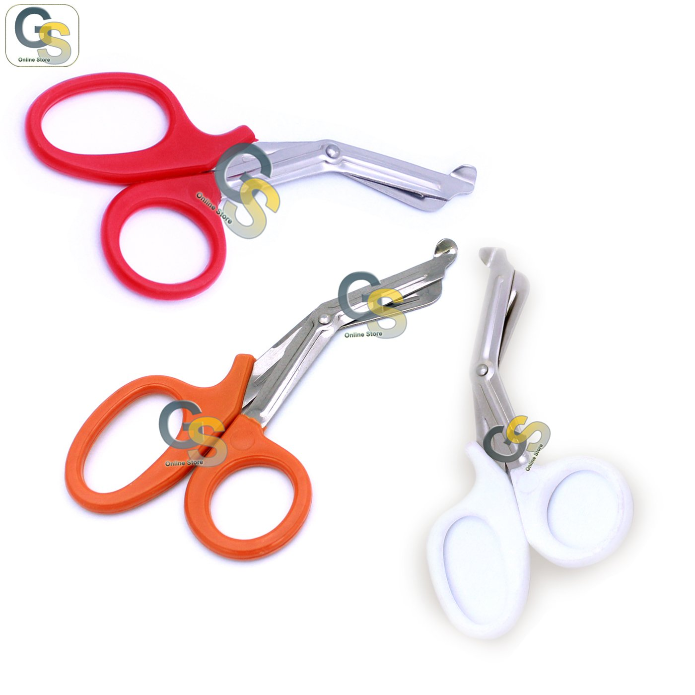 G.S 3 PCS (RED & NEON ORANGE & WHITE) PARAMEDIC UTILITY BANDAGE TRAUMA EMT EMS SHEARS SCISSORS 7.25 INCH STAINLESS STEEL
