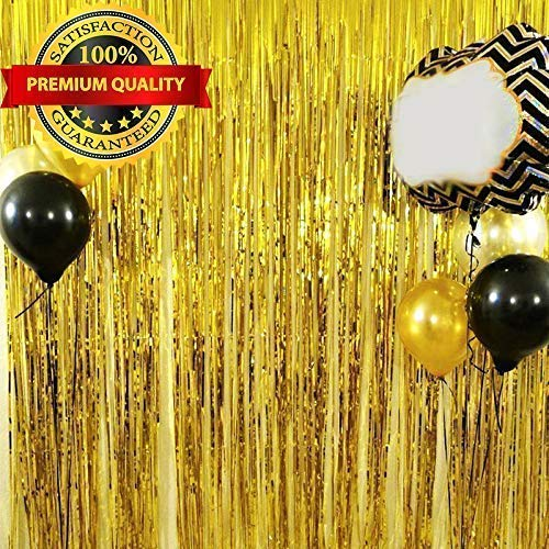 Foil Fringe Backdrop Curtain - Premium Quality Photo Booth Props for Birthday Decorations, Christmas, Wedding, Bachelorette, Happy New Years Eve Party Supplies 2019 (3.2 ft x 9.8 ft)