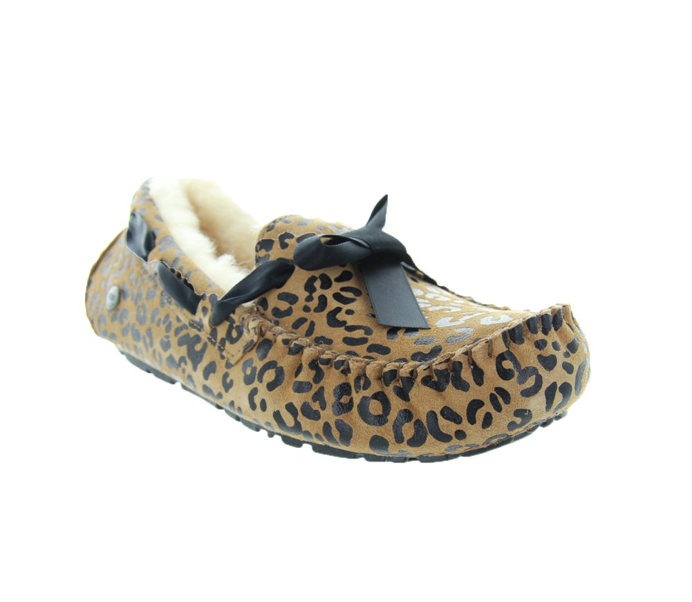 UGG Women's Dakota Leopard Bow Chocolate Satin Slipper 6 B (M)