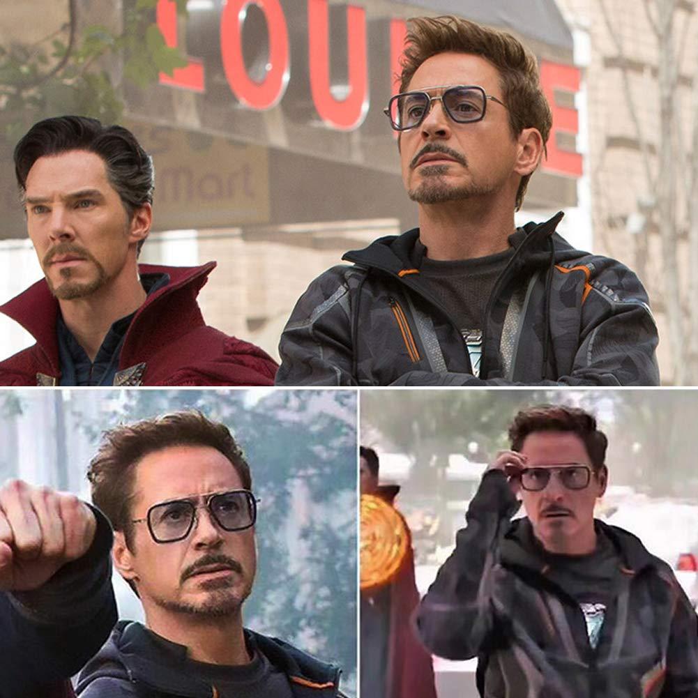 FSIGOM Spider Man Edith Glasses,Vintage Aviator Square Metal Frame for Women Sunglasses Classic Downey Iron Man Tony Stark Shades