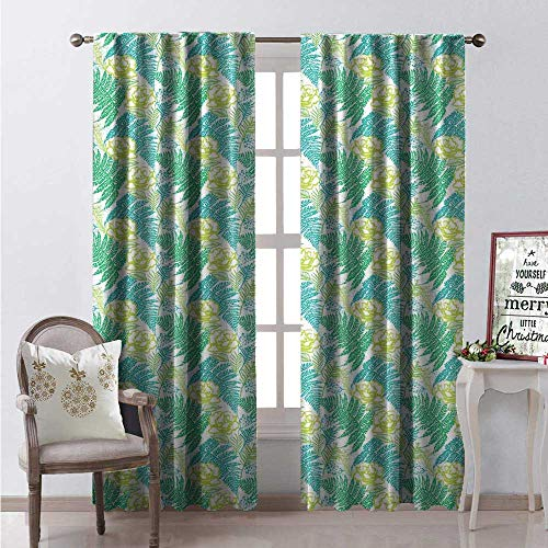 Fern Thermal Insulating Blackout Curtain Ink Hand Drawn Foliage in Different Green Shades Pattern Fern Growth and Roses Blackout Draperies for Bedroom W96 x L96 Multicolor