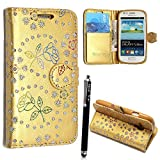 Samsung Galaxy S4 i9500 Case, Kamal Star® Premium PU Leather Magnetic Case Cover with ATM card and Note slots + Free Stylus (Rose Gold Diamond Book)