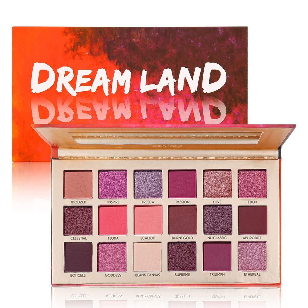 UCANBE Pro 18 Shimmer & Matte Pigmented Eyeshadow Palette - Pink Peachy Red Brown Metallic Glitter Eye Shadow Makeup Pallet