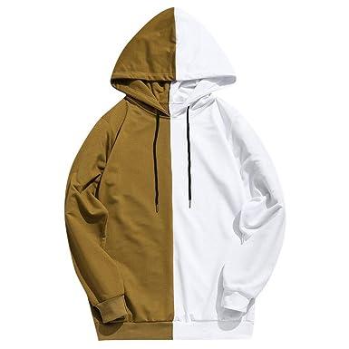 Longra ☂☂✿✿ diseño para Hombre Patchwork Casual Slim Fit Sudadera con Capucha Outwear