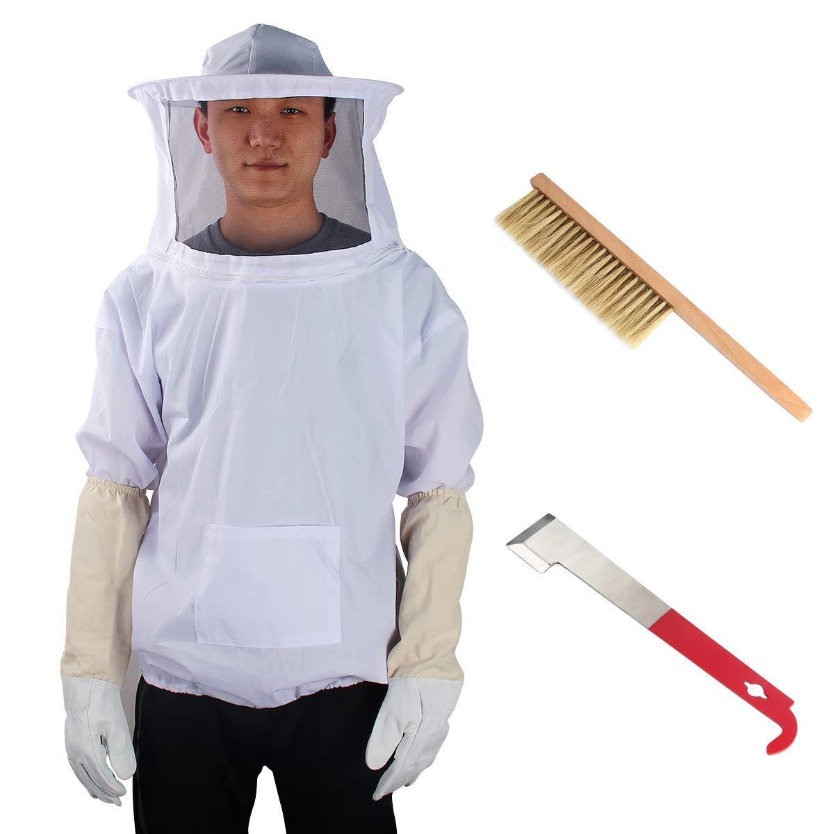 Yodensity Veste De Protection Professionnel avec Voile Anti Abeille pour Apiculteur Beekeeping Suit Veste d'apiculture + Gants + Brosse + Outil De Ruche (L: Recommandé pour Hauteur 180-190cm)