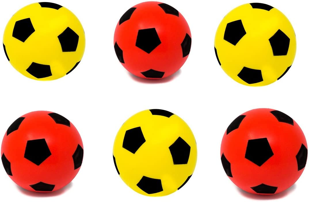 Balón de fútbol (espuma, talla 5), 3 Red + 3 Yellow: Amazon.es ...