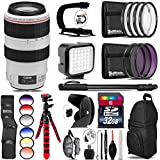 Canon EF 70-300mm IS USM Lens + 6PC Graduated Filter Set + LED Kit + Stabilizing Handle + UV-CPL-FLD Filters + Macro Filter Kit + 72 Monopod + Lens Hood + 32GB Class 10 - International Version
