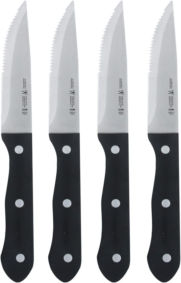 Henckels Steak Knife Set of 4, Stainless Steel, Black
