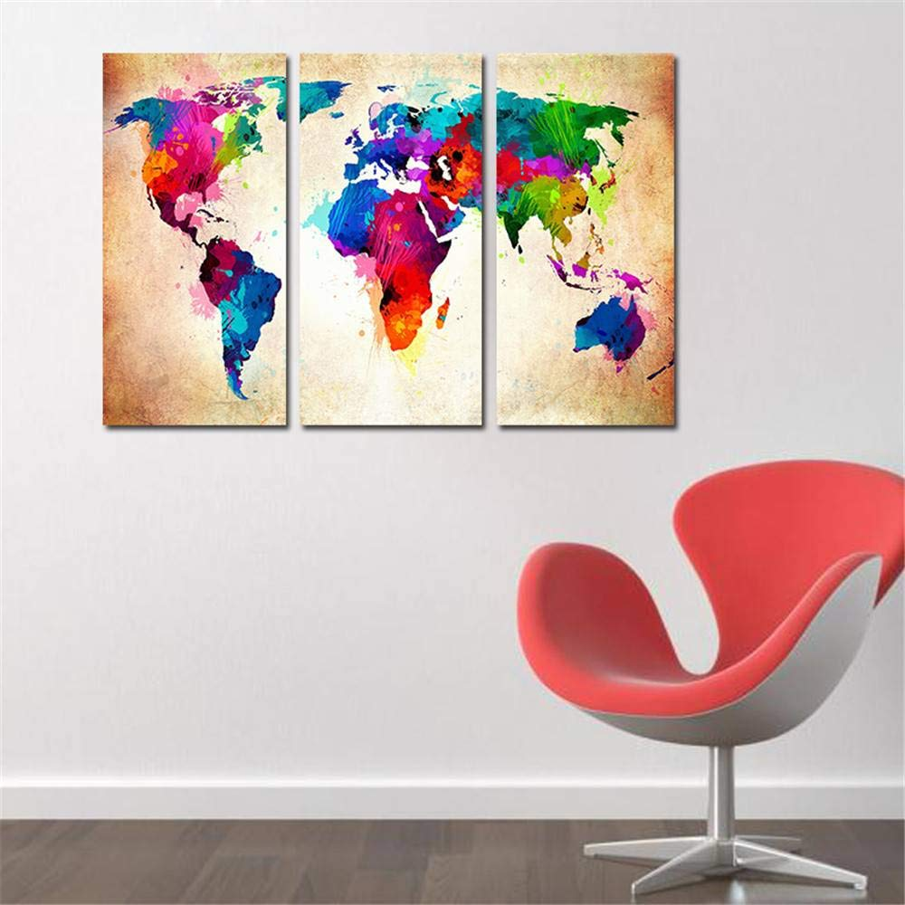 BFY Frameless Huge Wall Art Oil Painting On Canvas Colorful World Map Home Decor