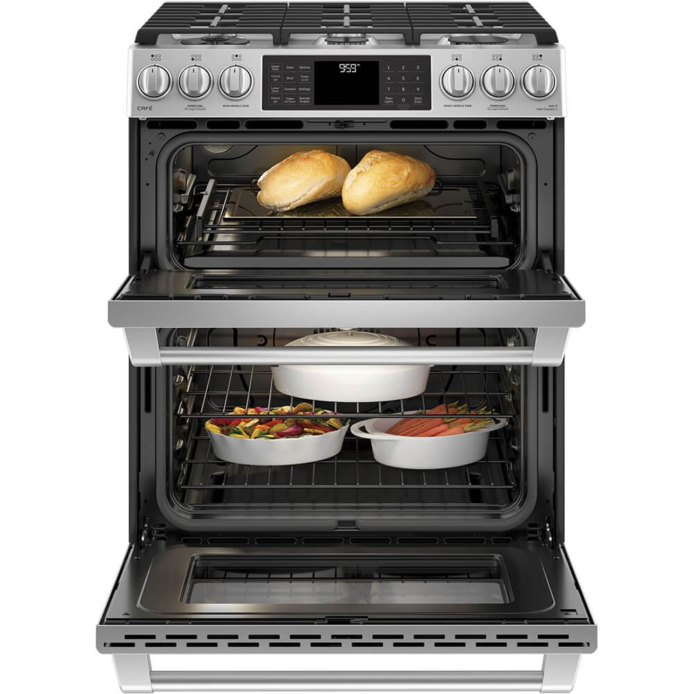 ft 6.7 cu GE Cafe CGS995SELSS 30 Inch Slide-in Gas Range with Sealed Burner Cooktop Primary Oven Capacity in Stainless Steel