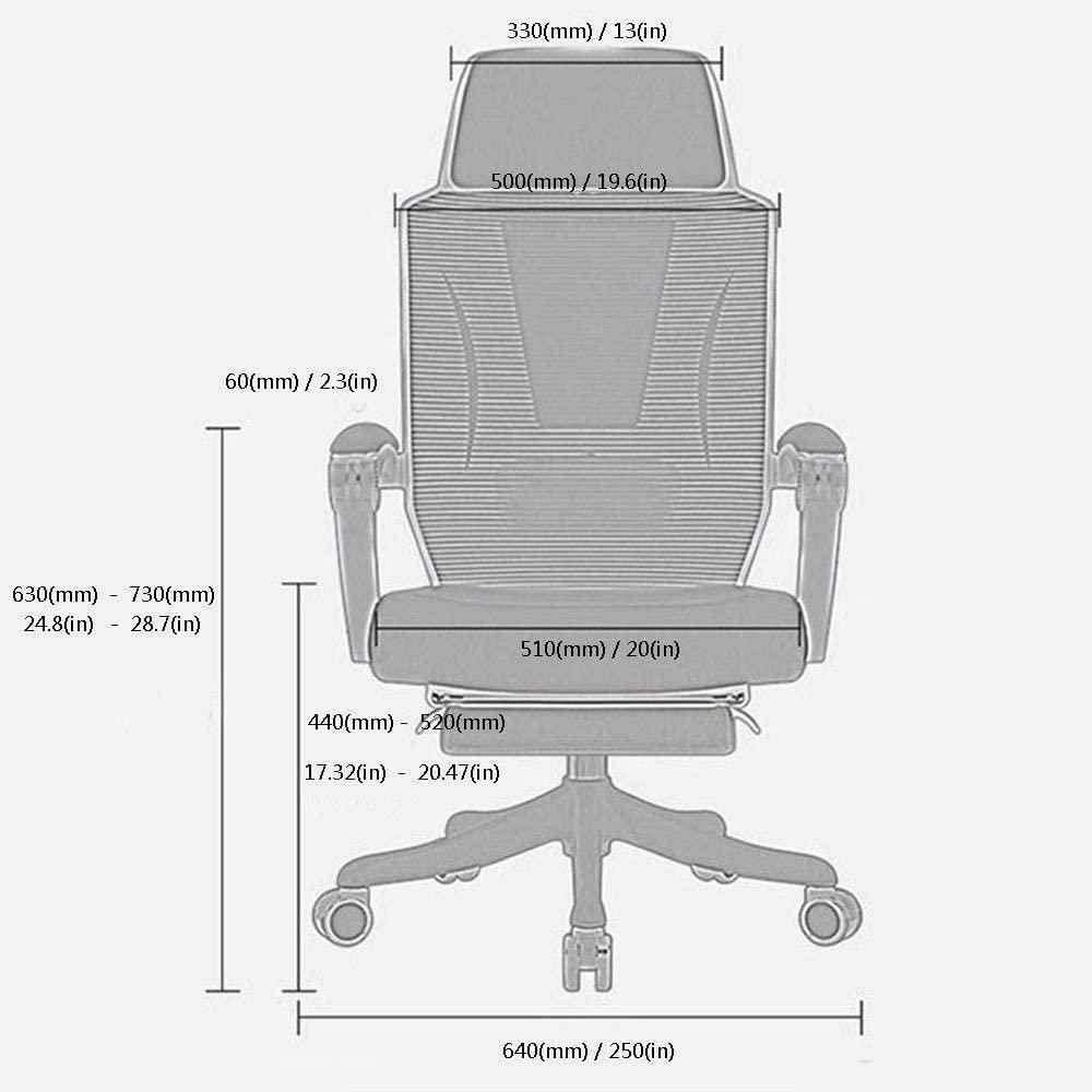 Datorstol ergonomi nät modern minimalistisk kontorsstol roterande platt liggande lunchpaus chef stol knästol (färg: svart) Svart