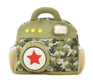 Good Night Mochila de peluche con forma de cámara creativa para niños pequeños, mochila de