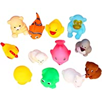 Vistara Trade Non-Toxic Soft Chu Chu Animal Bath Toys, Multi Color (Set of 12)
