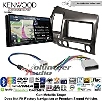Volunteer Audio Kenwood Excelon DNX994S Double Din Radio Install Kit with GPS Navigation Apple CarPlay Android Auto Fits 2006-2011 Honda Civic (Earth Taupe Brown)