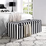 Cheap Fabroni Velvet Storage Bench – Shoe Case | Upholstered | Black and White Stripes | Livingroom | Bedroom | Inspired Home