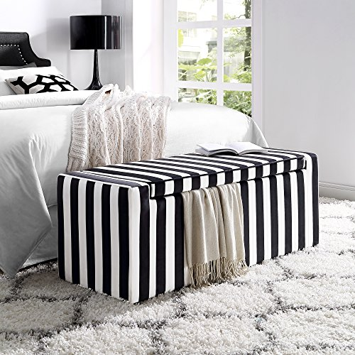 Fabroni Velvet Storage Bench – Shoe Case Upholstered Black and White Stripes Livingroom Bedroom Inspired Home
