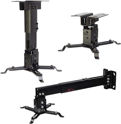 Luxburg® Suporte Universal de Aluminio para Proyector (montaje de techo o mural) carga maxima 15kg 30 grados, 70-120cm, - - noir