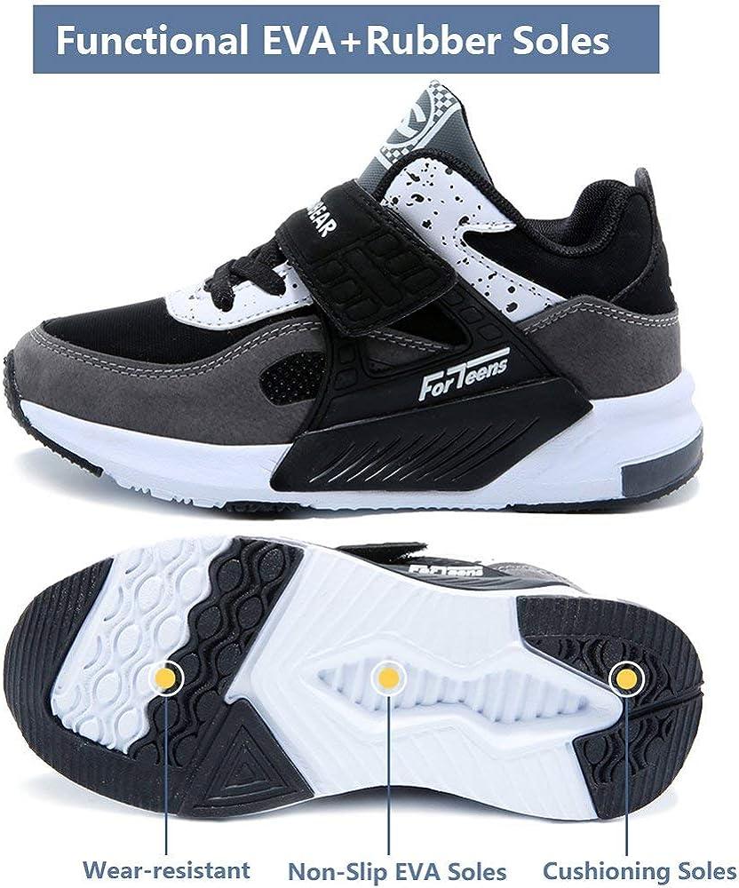 HAP JUMP Sneakers Enfant Baskets Montantes Garcon Chaussure de Course Mode Garcon Fille Sport Running Shoes Competition Entrainement,Noir blanc,31