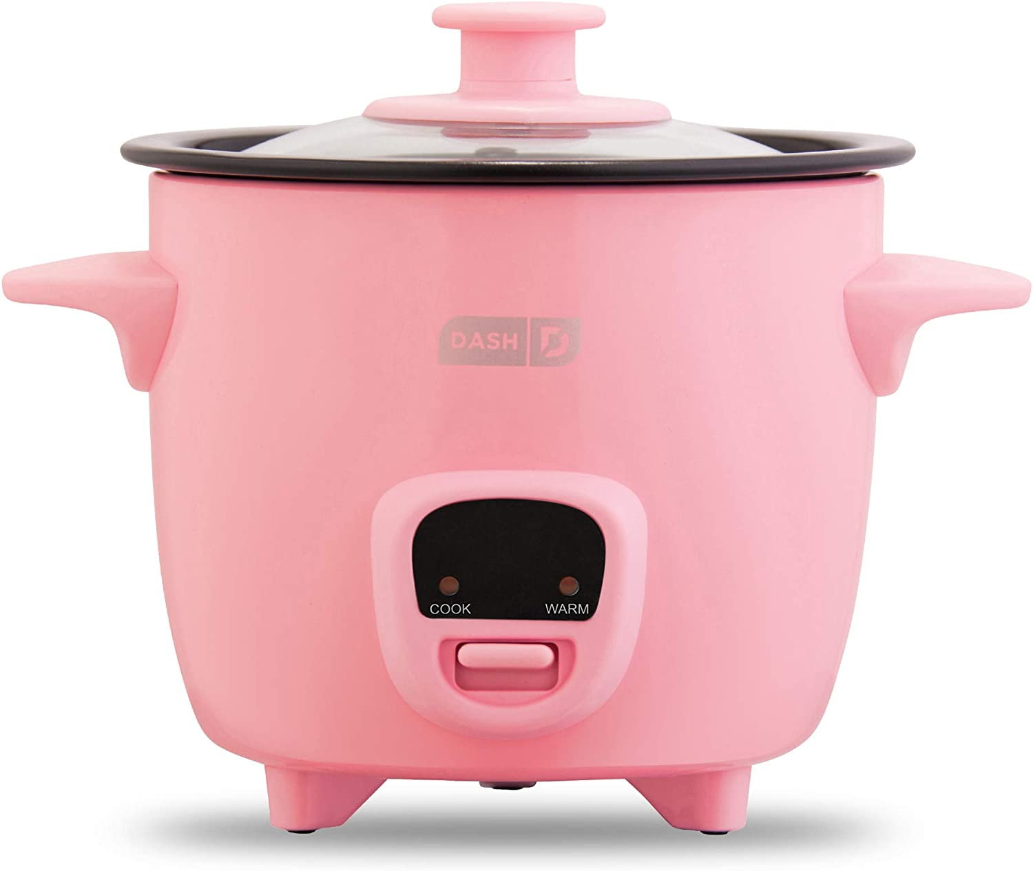 Dash DRCM200GBPK04 Mini Rice Cooker Steamer with Removable Nonstick Pot, Keep Warm Function & Recipe Guide, 2 cups, for Soups, Stews, Grains & Oatmeal, Pink