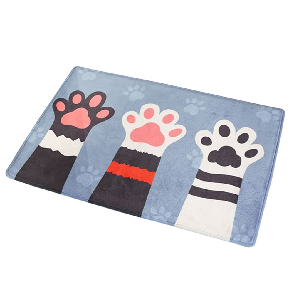 Smartcoco Lovely Cat Claw Flannel Non-Slip Foot Pad Carpet for Bathroom Living Room Kitchen Bedroom, 15.7'' x 23.6''