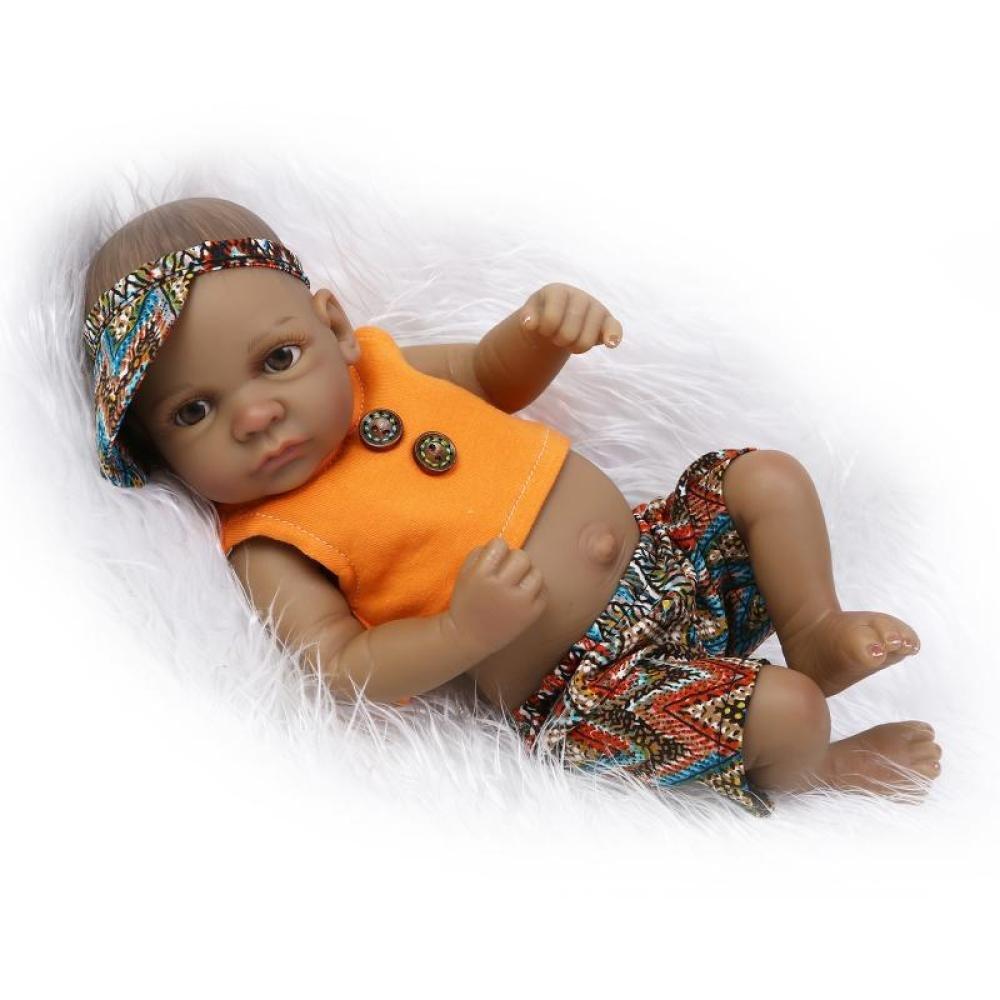 GHCX Schwarze Haut Simulation Wiedergeburt Silikon Puppe Süße Mini in Das Wasser Baby Spielzeug Kinder Kreative Geburtstagsgeschenk 27CM,Boy
