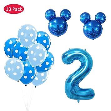 Amycute 13 pcs Mickey Fiesta de cumpleaños 2 año, Decoración ...