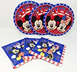 Patriotic 4th of July Party Mickey and Minnie Mouse Paper Plate Bundle Includes Plates and Napkins for 10