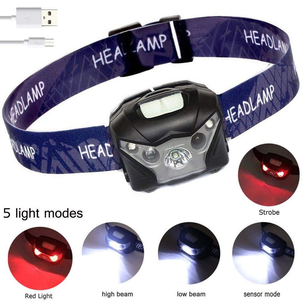 total-shop Lampe Frontale dext/érieur /à Induction pour Camping Aventure p/êche LED Rechargeable par USB